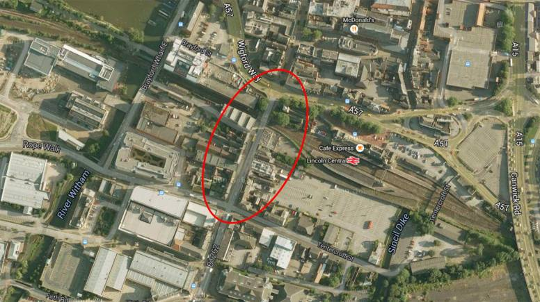 On completion of the East West Link Road the section of highway between Tentercroft Street and St Mary's Street will be closed to vehicles. Image: Google Maps