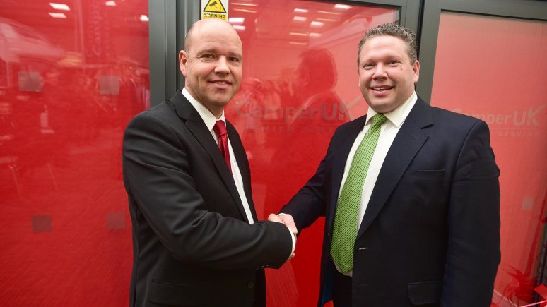 Dean Hyde, Managing Director as Camper Van UK and Lincoln MP, Karl McCartney. Photo: Steve Smailes for The Lincolnite