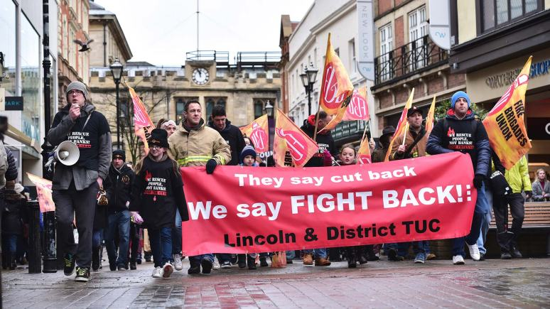 Firefighters and campaigners at a protest in Lincoln city centre on January 31. Photo Steve Smailes for The Lincolnite