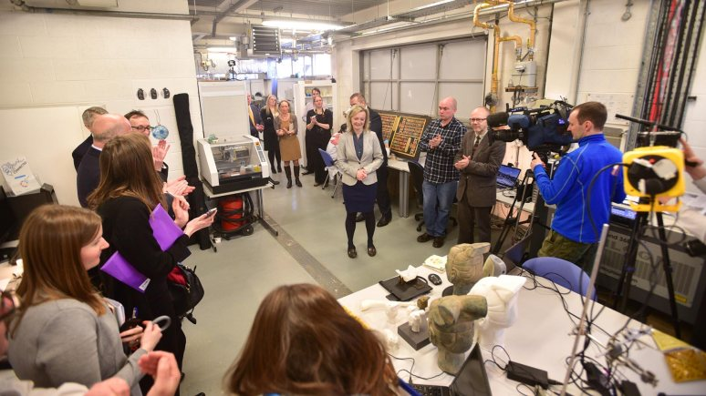 The group took a tour of Lincoln Technology Hub on the University of Lincoln campus Photo: Steve Smailes for The LIncolnite