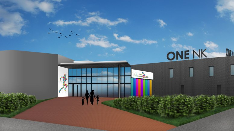 A mock up of how the centre's external view could look with the new branding. Artist's Impression: NKDC