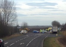 The road was closed after the collision, involving two cars. Photo: Giles McNeil