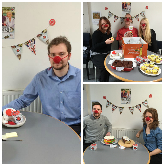 Staff at Globe Consultants, Place Architecture and Distraction who have been taking part in a week-long Red Nose Day Bake Off
