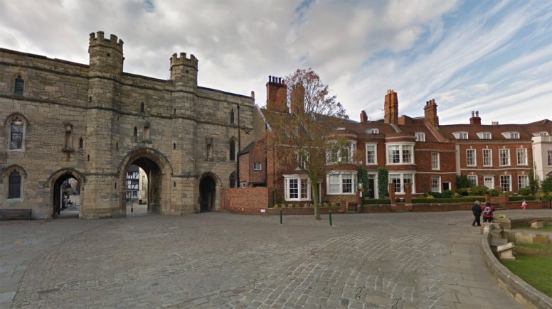 The pensioner was mugged in the Minster Yard area outside Lincoln Cathedral. Photo: Google Street View