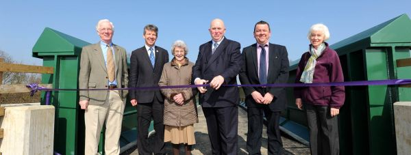 Left to right: Paul Learoyd, Chief Executive Lincolnshire Wildlife Trust; Geoff Trinder, Chairman, Lincolnshire Wildlife Trust; Cllr Mrs Marion Brighton OBE, Leader of North Kesteven District Council and member of Whisby Steering Board; Cllr Colin Davie, executive member, Lincolnshire County Council; Kenneth Mason, Network Rail; Janet Mellor, Chairperson of Whisby Park Steering Board. Photo: Lincolnshire County Council