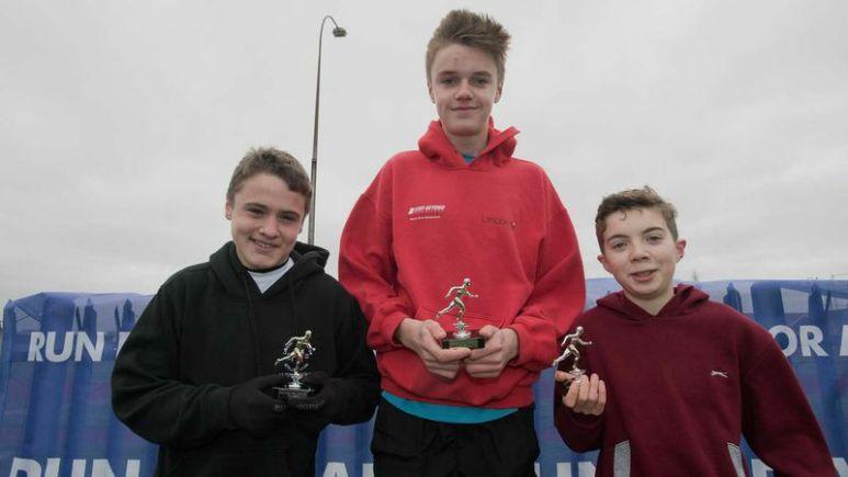 Junior Run winners Harrison Wood, Jack Stocks and Jordon Blight. Photo: Steve Smailes for The Lincolnite