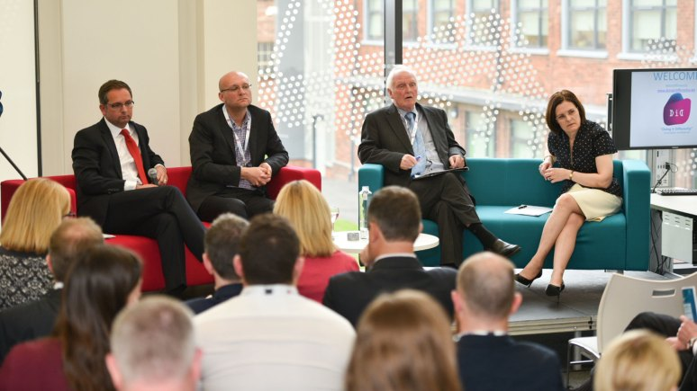 Doing it Differently panel: Nick Pulley, Regional Director Santander Corporate Banking East Mids, Andrew Stevenson, Director of Research and Enterprise at the University of Lincoln, Bryan Carr Chairman at Castlet Ltd and Ursula Lidbetter, Chair of the Greater Lincolnshire LEP. Photo: Steve Smailes for The Lincolnite