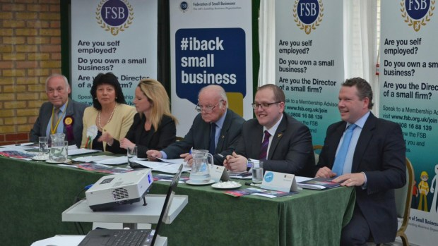 The FSB Lincoln MP debate at the Bentley Hotel (L-R): Tony Wells (UKIP), Helen Powell (Lincolnshire Independents), Lucy Rigby (Labour), David Dexter (Chair), Ross Pepper (Liberal Democrats), Karl McCartney (Conservative)