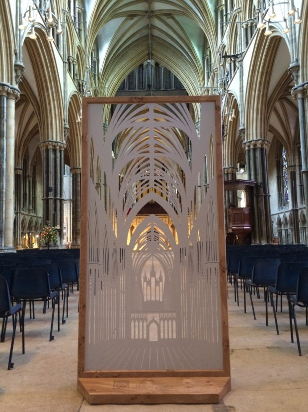 The decorative screen is now on display at Lincoln Cathedral.