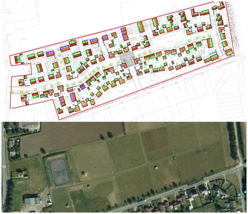 A planning application for 160 new homes in Navenby