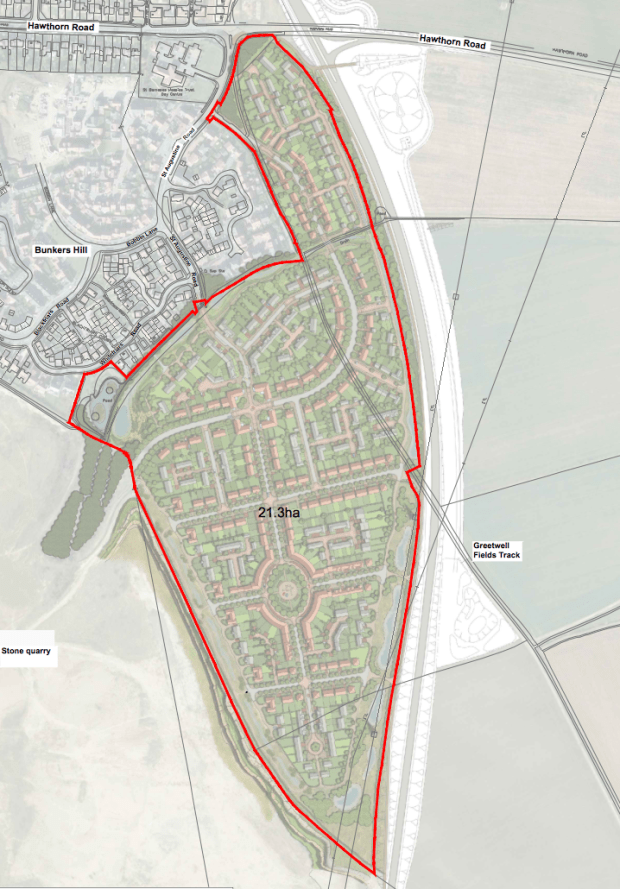 The initial outline plan for the 500 homes.
