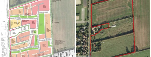 The 151 new homes proposed on a greenfield area in the village of Welton.