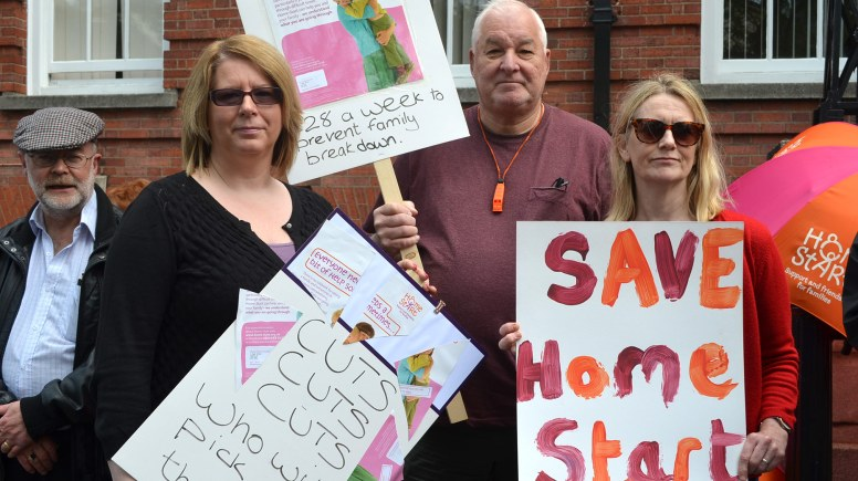 Protesters against the removal of Lincolnshire County Council's funding . Photo: The Lincolnite