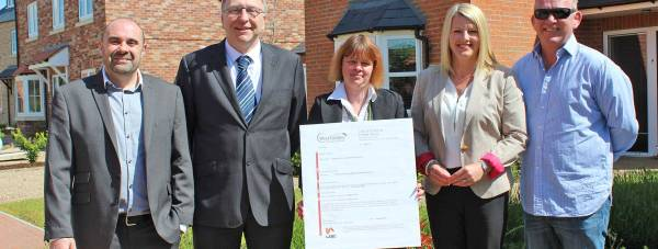 (L-R) Architect for The Limes, Andrew Allison, West Lindsey District Council's Senior Building Control Surveyor Trevor Durant, Technical Administrator Jodi Wray and Susan and Tim Clarke of TC Developments celebrate the completion of the project.