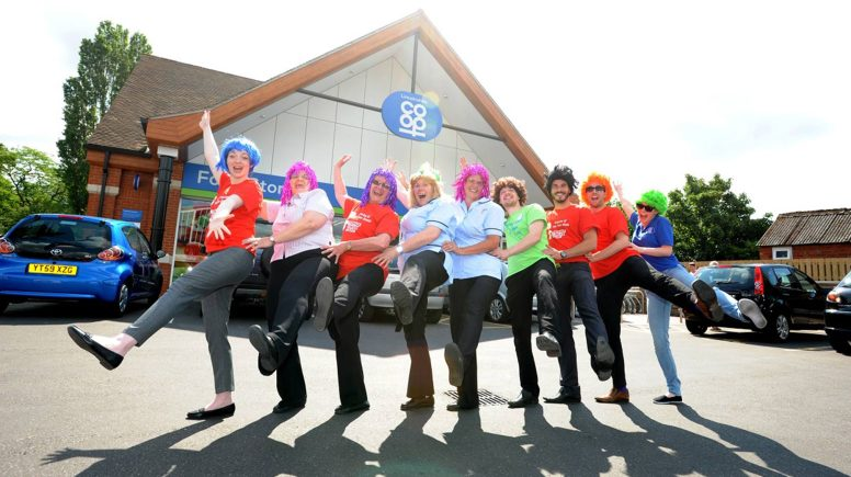 Lincolnshire Co-op staff letting the fundraising get to their heads.