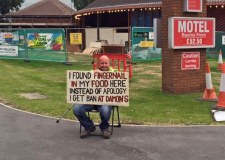 The banned customer staged a protest outside the restaurant to warn others. Photo: Laura-Jo Greenwood