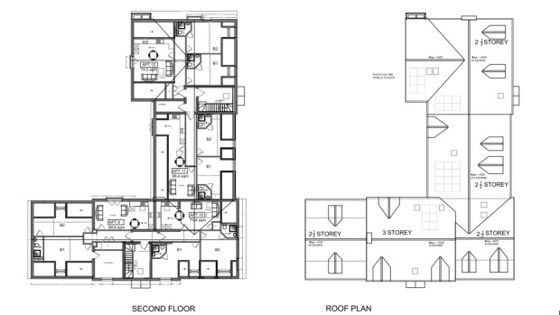 Second floor and roofs plans of the proposed conversion of The Lord Tennyson pub into student housing