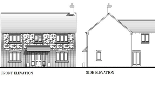 Front and side elevations of  the proposed houses. Photo: Allison Homes