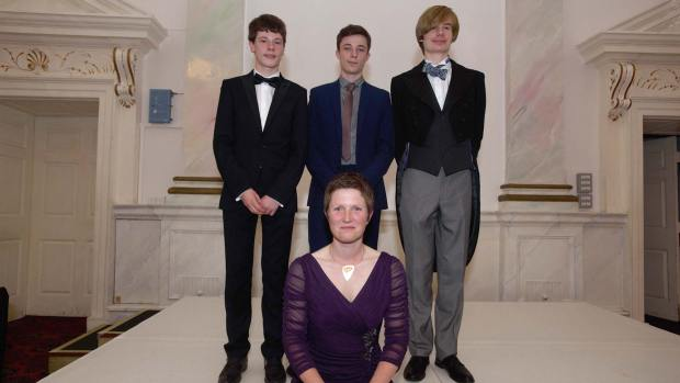 Students Ralph Oscar Reader-Sullivan, Henry Barker and Theo Drabble with UTC Principal Rona Mackenzie. Photo: Steve Smailes for The Lincolnite