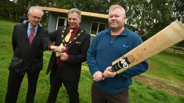 Councillor Donald Nannestad, Deputy Leader and Portfolio Holder for Recreational Services and Health at City of Lincoln Council, Mayor of Lincoln Councillor Andrew Kerry, and Matt Fisher from Carholme Cricket Club