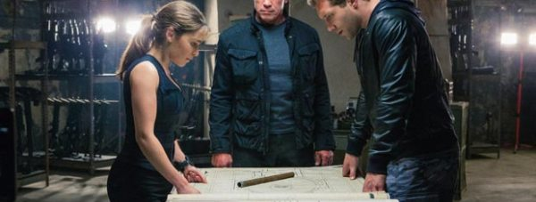 Arnold Schwarzenegger, Jai Courtney and Emilia Clarke in Terminator Genisys (2015). Photo: Paramount Pictures