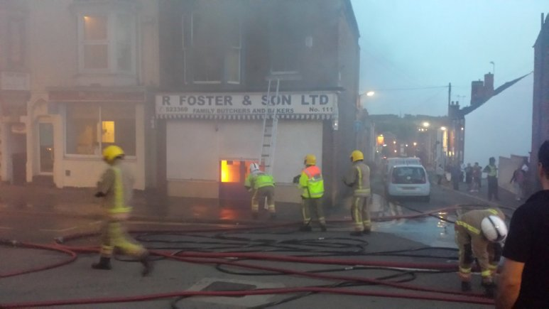 Lincolnshire Fire and Rescue tackle the blaze at Foster & Sons on Monks Road, Lincoln