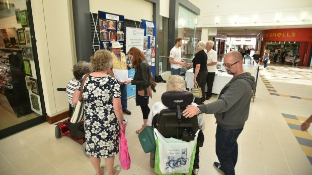 James met people at Waterside Shopping centre to talk about his career and life with Polio.