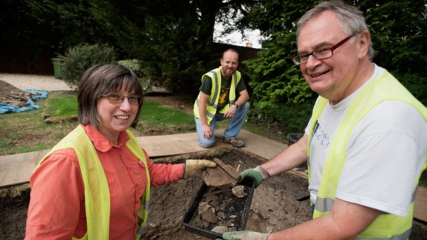 Brian Porter (right) and other members of the Ermine Street Community Dig. Photo: Steve Smailes for The Lincolnite