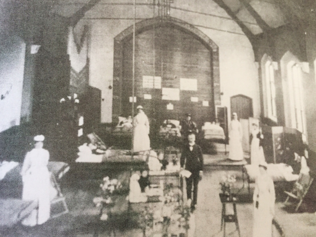 Temporary hospitals were set up at Chaplin Street Chapel and Drill Hall to care for Typhoid sufferers.