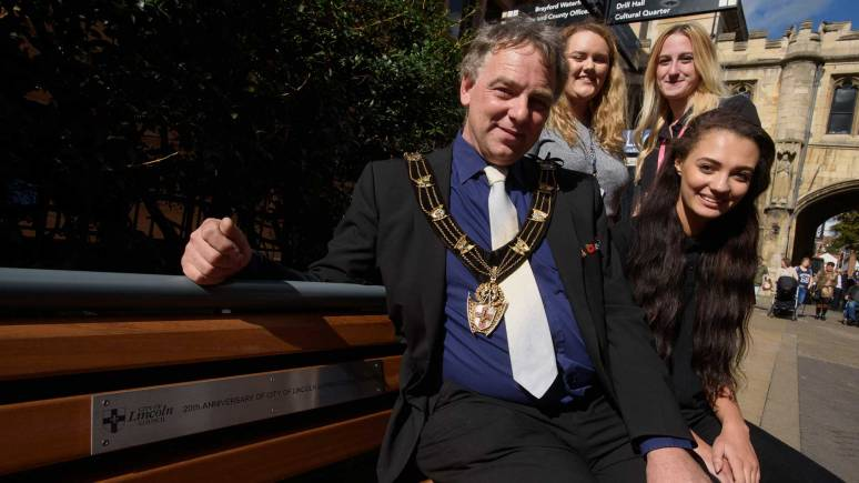 Councillor Andrew Kerry with Level 3 apprentice Kathryn Blissitt and Level 2 apprentices Taylor Whittaker and Chelsee Freestone. Photo: Steve Smailes for The Lincolnite