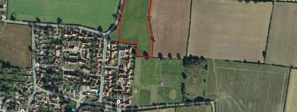 The site of the proposals for 46 homes in Bassingham. Photo: Google Maps
