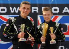 Ben Jelf (left) and Lincoln's Jonathan Brewer (right) collecting silverware at Kingsbury earlier in the season