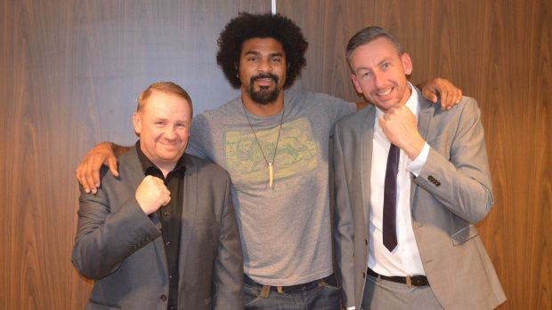 Haye with Casey Casement (left), coach at Bracebridge Boxing Club and James Beattie, event organiser