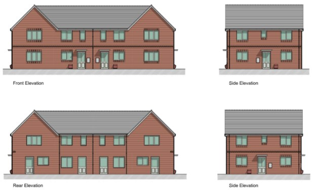 Front, rear and side elevations for the future development