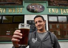 Lewis De-la-Hey, owner of the West End Tap celebrates getting into the Good Beer Guide 2016