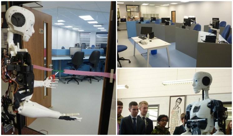 University of Lincoln's robot MARC helped school children open their new robotics lab.