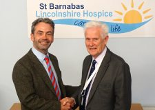 New St Barnabas CEO Chris Wheway with the hospice's Chairman of Trustees Bob Neilans.