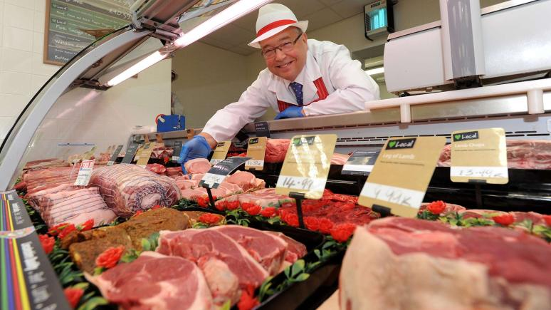 Lincolnshire Co-op Butchery Warehouse Manager Dave Chown with some of their steaks
