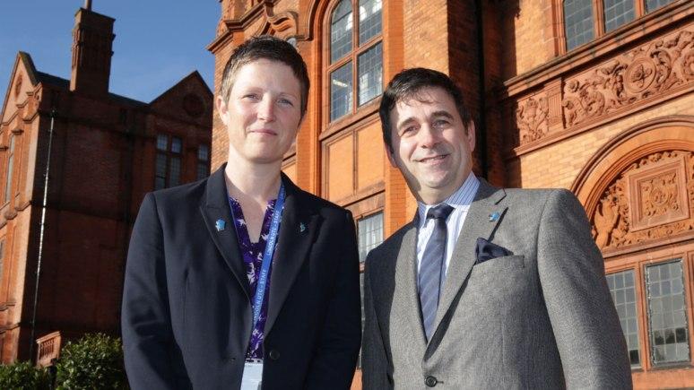 UTC Principal Rona Mackenzie with Siemens UK CEO Juergen Maier. Photo: Phil Crow