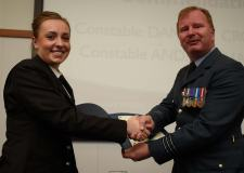 Police Constable Danielle Crampton being presented with an award from Wing Commander Mike Harrop. Photo: Steve Smailes for The Lincolnite