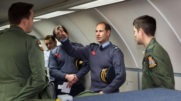 Prince Edward with 8 Squadron personnel on board E-3D Sentry aircraft