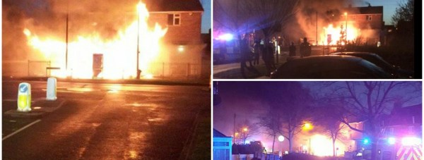 The scene of the fire on De Wint Avenue in Lincoln. Photos: Eyewitnesses  Jordan Challis, Sam Seaman and Jacob Robson for The Lincolnite