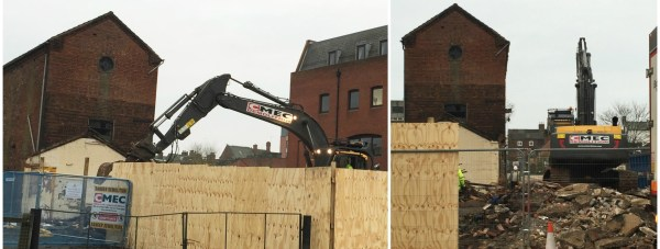 Demolition work has begun on the former Pea Warehouse in Lincoln