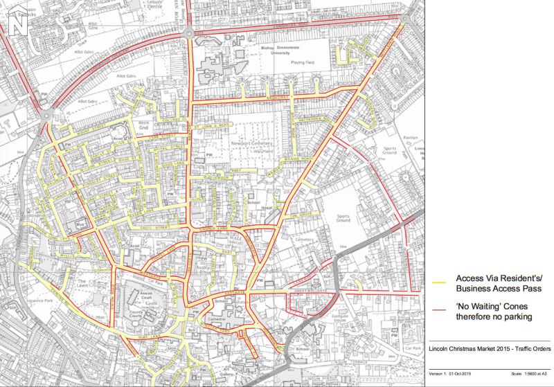 Road closures and restrictions during Lincoln Christmas Market. (Click to expand)
