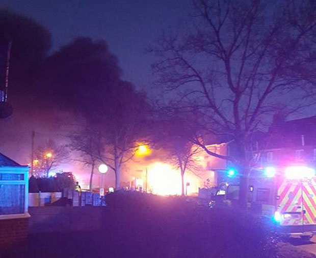 The fire at the former Co-op building on De Wint Avenue started at around 4.30pm. Photo: Sam Seaman