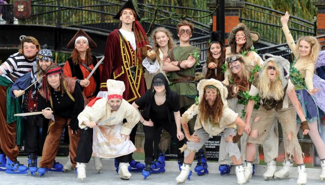 The Peter Pan cast at the Lincoln Ice Rink.