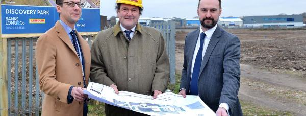 Banks Long & Co Director William Wall, Lindum Group                                                      Chairman David Chambers and Lindum's Property Director Stuart Mitchell                                                at the site for the new Discovery Park