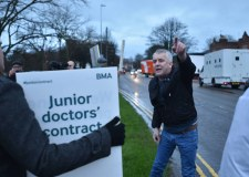 An angry motorist makes clear his feelings on the junior doctors' strike of January 12. Photo: Steve Smailes for The Lincolnite