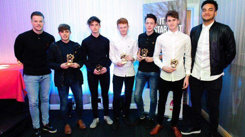 LCFC players with charity tournament winners Brendan Joyce, Ryan James, Jake McCann, Josh Toynbee, Jack Wilkinson and Callum Gray