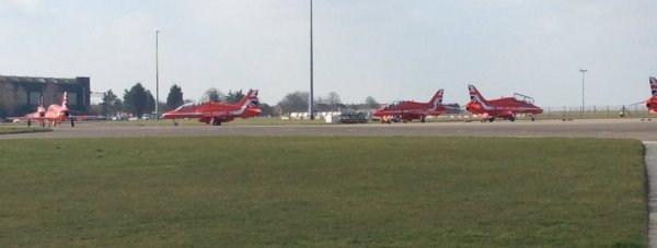 The first jets taxi at RAF Scampton, leaving for the team's annual overseas training.